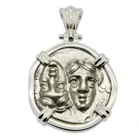 Greek 400-350 BC, Gemini Twins of Istros drachm in 14k white gold pendant.