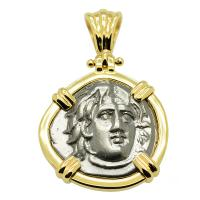 Greek 275-250 BC, Sun God Helios and rose drachm in 14k gold pendant.