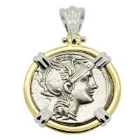 Roman Republic 111-110 BC, Roma and Victory denarius in 14k white and yellow gold pendant.