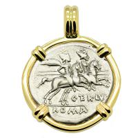 Roman Republic 147 BC, Dioscuri on horseback denarius in 14k gold pendant.