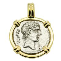 Roman Republic 90 BC, Apollo and Minerva chariot denarius in 14k gold pendant.