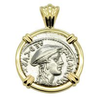 Roman Republic 55 BC, goddess Diana and Cretan Goat denarius in 14k gold pendant.