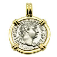 Roman Empire AD 102, Emperor Trajan and Mars denarius in 14k gold pendant.