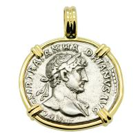 Roman Empire AD 121, Hadrian and Mars denarius in 14k gold pendant.
