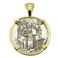 Venice 1275-1280, Jesus Christ & Saint Mark grosso in 14k gold pendant.