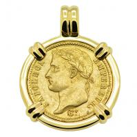 French Emperor Napoleon 20 Francs dated 1811 in 14k gold pendant.