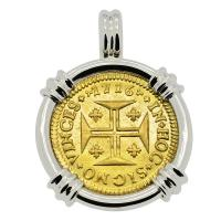 Portuguese 1000 Reis dated 1716, with cross and crown in 14k white gold pendant.