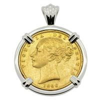 British Queen Victoria sovereign dated 1866 in 14k white gold pendant.