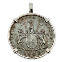 British 10 cash dated 1808 in 14k white gold pendant, 1809 British East Indiaman Shipwreck.