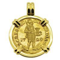 Dutch Ducat dated 1729 in 18k gold pendant, 1735 Dutch East Indiaman Shipwreck Zealand.