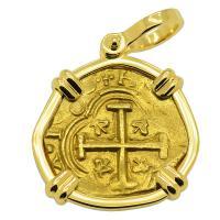 Colonial Spanish Bogota 2 escudos 1656