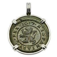 Spanish 4 maravedis dated 1617, in 14k white gold pendant.