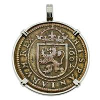 Spanish 8 maravedis dated 1604, in 14k white gold pendant.