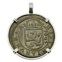 Spanish 8 maravedis dated 1605, in 14k white gold pendant.