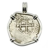 Colonial Spanish Peru, King Philip IV one real with full 1657 date, in 14k white gold pendant.