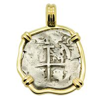 Colonial Spanish Peru, King Charles II one real dated 1697, in 14k gold pendant.