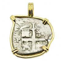 Colonial Spanish Peru, King Charles II one real dated 1678, in 14k gold pendant.