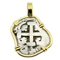 Colonial Spanish Peru, King Ferdinand VI one real dated 1754, in 14k gold pendant.