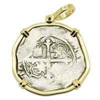 Colonial Spanish Mexico 2 reales 1589-1598, in 14k gold pendant.