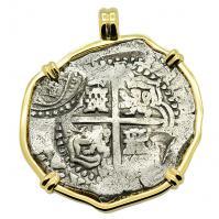 Spanish 8 reales 1649-1651, in 14k gold pendant, 1654 Shipwreck Chanduy, Ecuador.