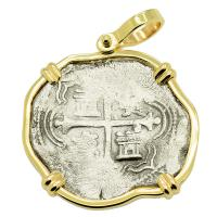Spanish 4 reales 1589-1617, in 14k gold pendant, 1622 Portuguese Shipwreck, Mozambique, Africa.