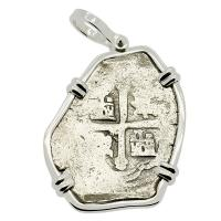 Spanish 4 reales 1705-1715, in 14k white gold pendant, 1715 Treasure Fleet Shipwreck, Florida.