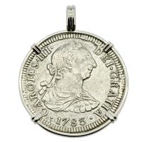 Spanish 2 reales dated 1783 in 14k white gold pendant, The 1784 Shipwreck that Changed America.