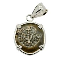 Holy Land 103-76 BC, Biblical Widow's Mite in 14k white gold pendant.