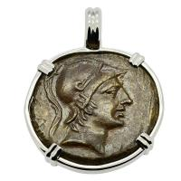Greek 120-63 BC, Ares and Sword bronze coin in 14k white gold pendant.