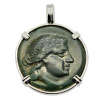 Greek 175-100 BC, Amazon warrior and Athena bronze coin in 14k white gold pendant.