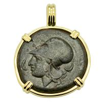 Greek 405-367 BC, Athena & Hippocamp bronze litra in 14k gold pendant.
