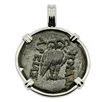 Greek 200-133 BC, Owl and Athena bronze coin in 14k white gold pendant.