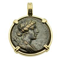 Greek Philadelphia 140-60 BC, Artemis and Apollo bronze coin in 14k gold pendant.