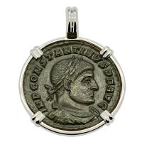 Roman Empire AD 310–318, Constantine and Sol follis in 14k white gold pendant.
