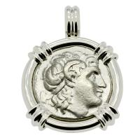 Greek 305-287 BC, Alexander the Great and Athena drachm in 14k white gold pendant.