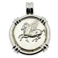 Greek Corinth 375-300 BC, Pegasus and Athena stater in 14k white gold pendant.