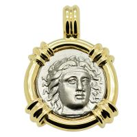 Greek 351-344 BC, Apollo and Zeus drachm coin in 14k gold pendant.