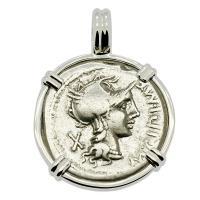 Roman Republic 115-114 BC, Roma and Victory Chariot denarius in 14k white gold pendant.