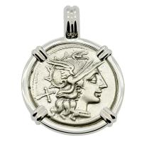 Roman Republic 150 BC, Roma and Victory Chariot denarius in 14k white gold pendant.