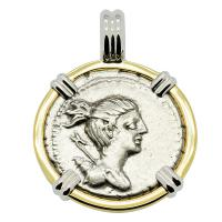 Roman Republic 73 BC, goddess Diana and Hunting Hound denarius in 14k white and yellow gold pendant.