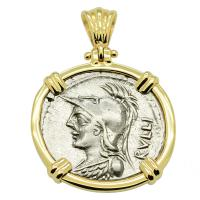 Roman Republic 100 BC, denarius with Minerva and Victory Chariot in 14k gold pendant.