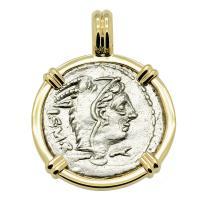 Roman Republic 105 BC, Queen Goddess Juno denarius in 14k gold pendant.