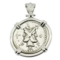 Roman Republic 120 BC, Janus and Roma denarius in 14k white gold pendant.