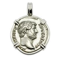 Roman Empire AD 117-138, Hadrian and Victory denarius in 14k white gold pendant.