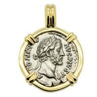 Roman Empire AD 158-159, Antoninus Pius denarius in 14k gold pendant.