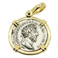 Roman Empire AD 169-170, Marcus Aurelius and Providentia denarius in 14k gold pendant.