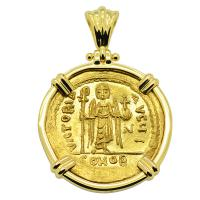 Byzantine AD 603-607, Angel and Emperor Phocas gold solidus in 18k gold pendant.