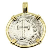 Byzantine 780-797, Constantine VI & Irene Cross Miliaresion in 14k gold pendant.