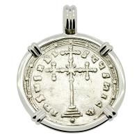 Byzantine 913-959, Constantine VII Cross Miliaresion in 14k white gold pendant.