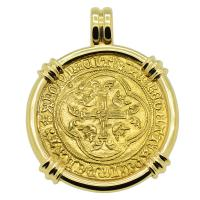 French 1422-1461, Charles VII Ecu d'or a la Couronne in 14k gold pendant.